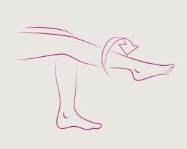 Вращение стоп, иллюстрирующее упражнение 4 гимнастики для вен